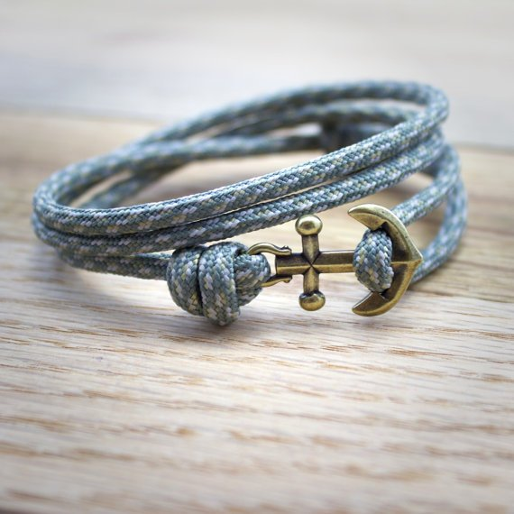 Anchor Paracord Nautical Bracelet in Gray by DesignedTurning