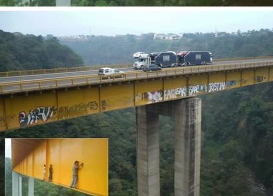 Ever wondered how they make graffities on bridges?