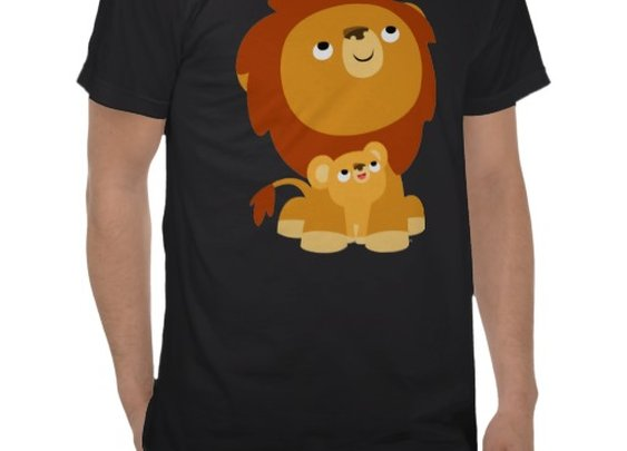 Cute Cartoon Protective Dad Lion and Cub T-Shirt by Cheerful Madness!! at Zazzle