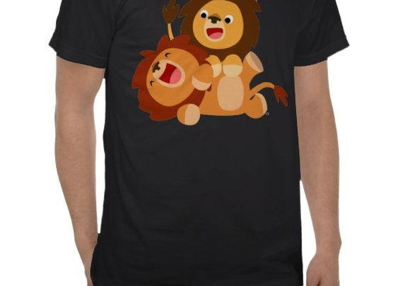 Two Cute Playful Cartoon Lions T-Shirt by Cheerful Madness!! at Zazzle