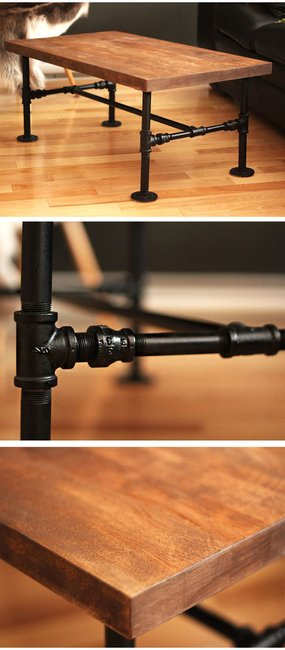 DIY Black Iron Pipe Table. No tools ! Only 1 screwdriver
