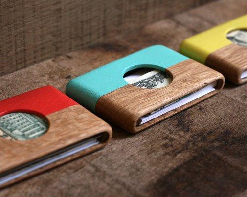 Modern Wallet - Oak and Mint