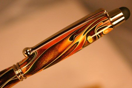 Pen stylus in swirling orange acrylic and gold by Hope & Grace Pens
