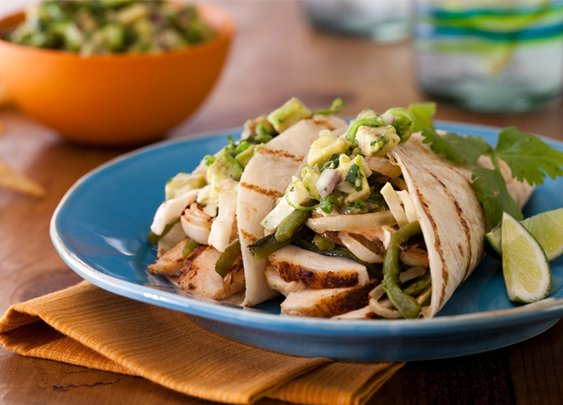 Spice-Rubbed Chicken Breast Tacos with Grilled Poblanos, BBQ Onions and Coleslaw Recipe : Bobby Flay : Recipes : Food Network