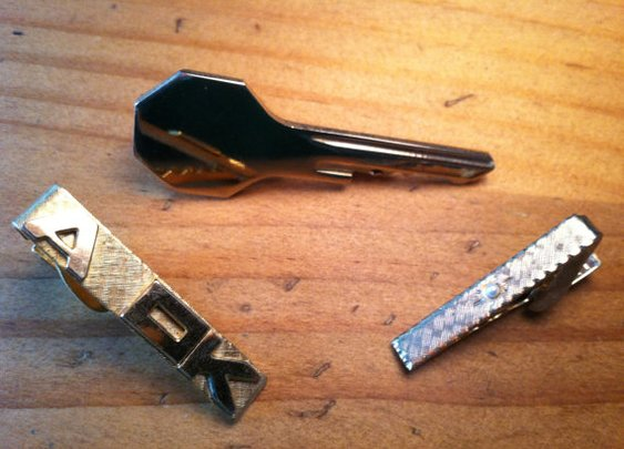 Three Vintage Tie Clips A Key Pearl and A OK by UnisonGeneral
