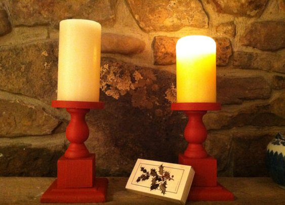 Upcycled Pepper Red Milk Paint Candle Holders by UnisonGeneral
