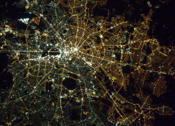 East/West Berlin divide still visible from space due to different lightbulbs
