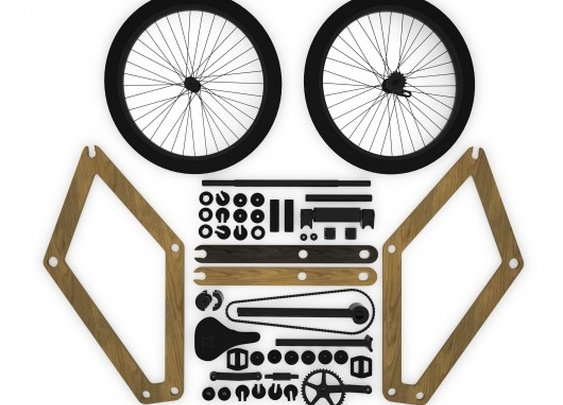 Sandwichbike wooden bicycle arrives flat-packed in a cardboard box