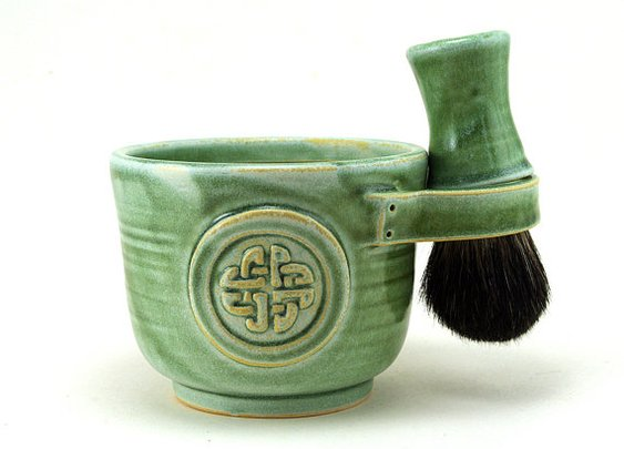 Shaving Set Green Celtic Knot Shave Mug Black by MiriHardyPottery
