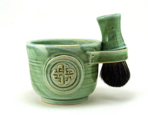 Shaving Set Green Celtic Knot Shave Mug Black by MiriHardyPottery