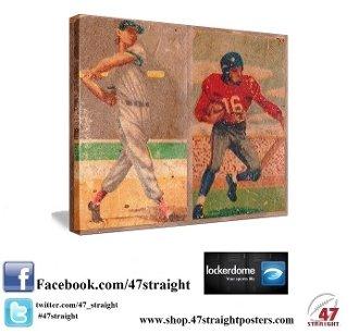 Vintage Sports Art, vintage baseball art, vintage football art