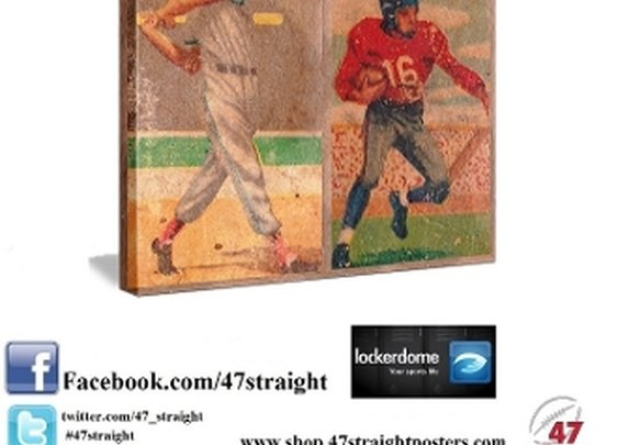 Vintage Sports Art, vintage baseball art, vintage football art