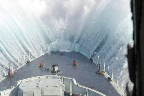 Bow of a Ship During a Storm