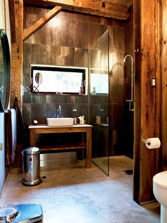 Wood and Bathrooms