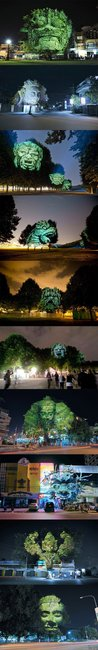 Cool 3D projections on trees