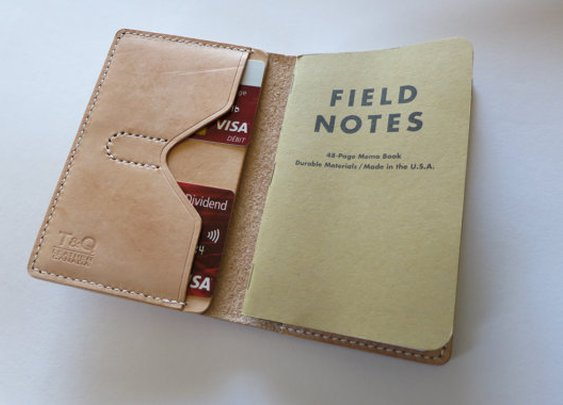 vegtaanned Leather Field notes Cover Hand Stitching by TQleather