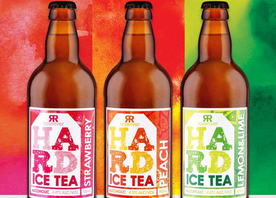 Rose River Beverages HARD Alcoholic Ice Tea design and packaging |