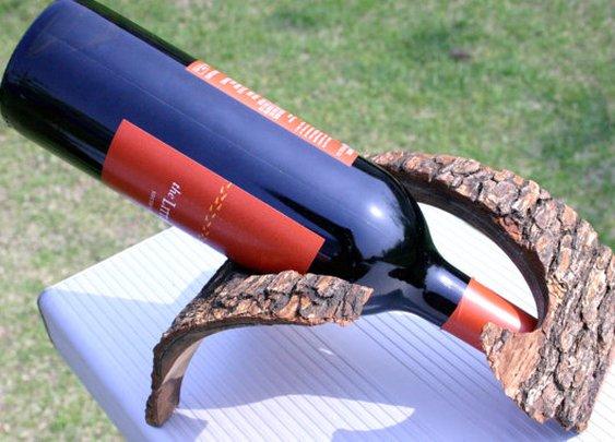 Rustic natural bark wine rack wine holder by HopeAndGracePens