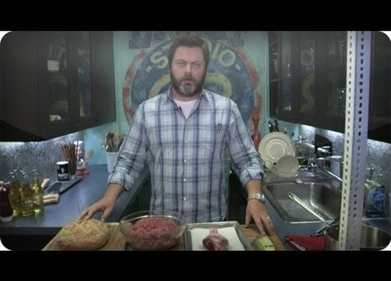 Late Night Eats - Nick Offerman Makes A Ron Swanson Turkey Burger