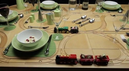 TrackTile Tables - Dining Tables With Built-In Toy Train Tracks