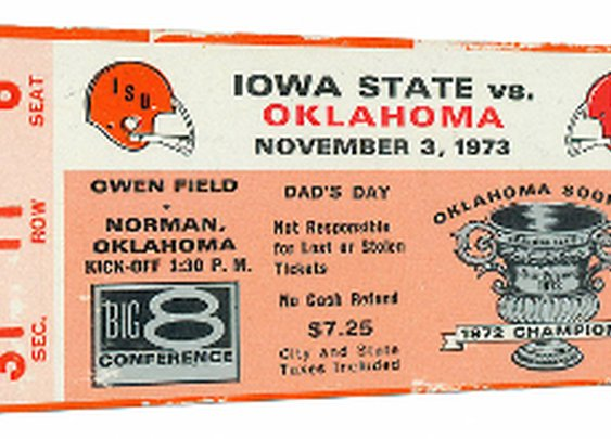 OU Sooners Football Tickets. 1973 Iowa State Cyclones vs. Oklahoma Sooners