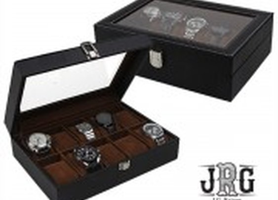 J.G. Raines Fiducia 6-pc Watch Box - Black Leather