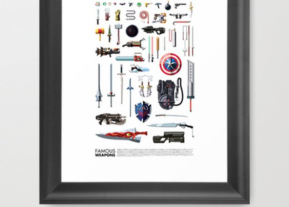 Famous Weapons Framed Art Print by Daniel Nyari | Society6