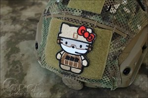 Hello kitty fire fighter kitty military tactics morale embroidery.