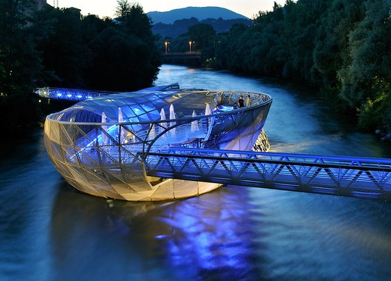 Floating Island/Cafe in Graz, Austria
