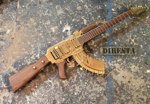 Wyclef Jean | Functional Guitar from an AK-47 Assault Rifle
