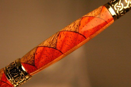 Wood Pen with crazy pattern in sculptured gold by Hope & Grace Pens