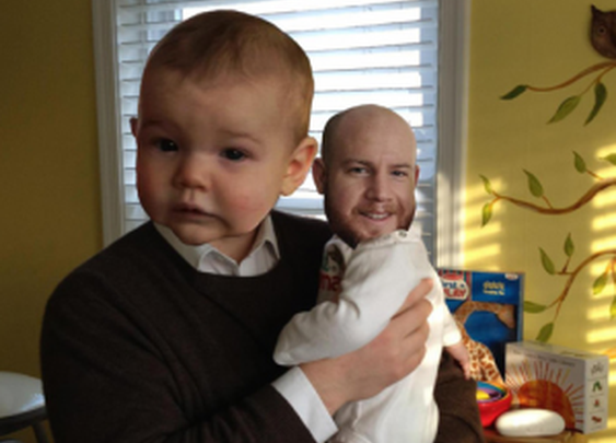 Swap the head of a man with his baby son, and you get visual comedy gold ! Check out these' Man Babies'