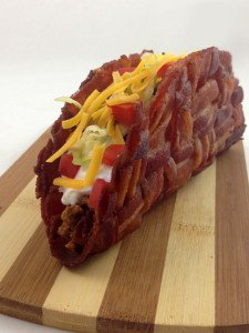 Combining two key food groups - the bacon weave taco shell