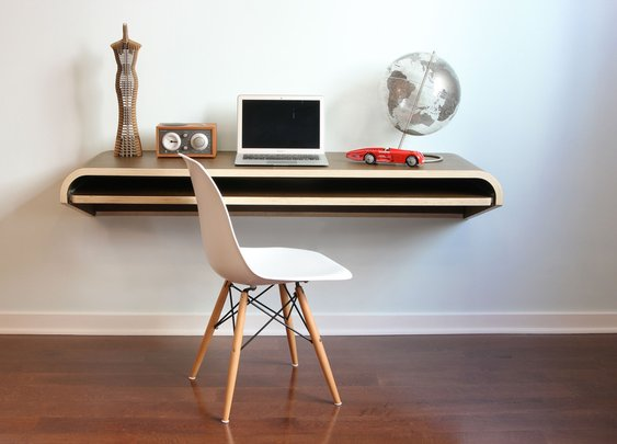 BOTANIST™ Modern Contract and Residential Furniture by Orange22 — Minimal Float Wall Desk - Walnut