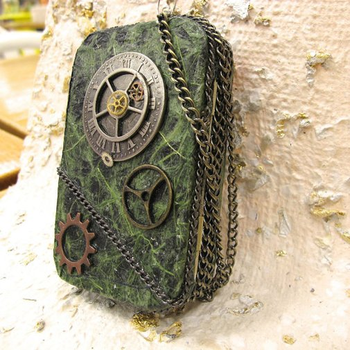 Steam Punk Altered Tin Credit Card Case by AlteredStateofTin