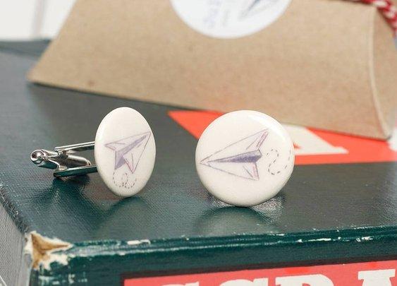 paper aeroplane cufflinks by julia davey ceramics | notonthehighstreet.com