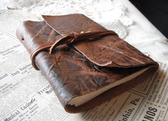 Crinkled Wrap Journal  rugged leather writing by AwakenJournaling