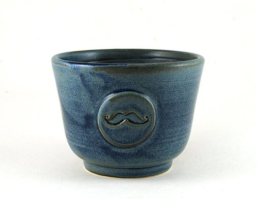 Blue Shaving Bowl with a Mustache Shave Cup  by MiriHardyPottery