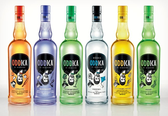 Oddka Unusual Vodka Flavors - Wasabi, Apple Pie   Cool Material