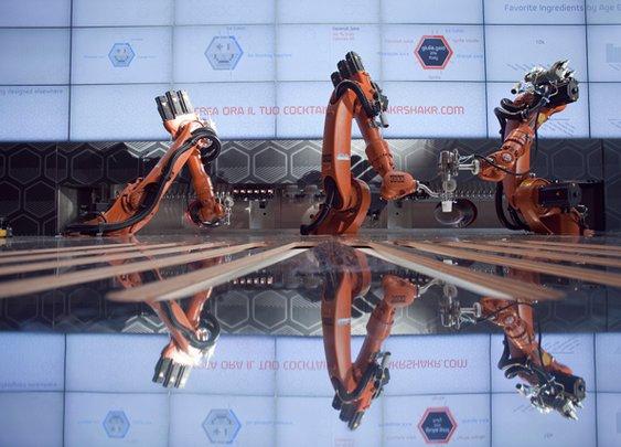 Makr Shakr, Robotic Bartender System Staffed by 3 Industrial Robots