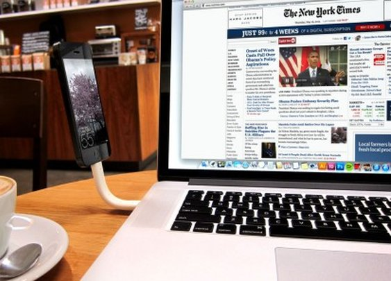 Trunk tangle-free iPhone cable doubles as a stand