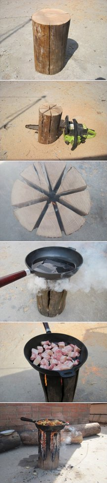 How to cook on a one log fire