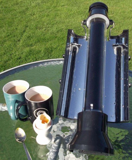 Solar Kettle boils water using the Sun's rays
