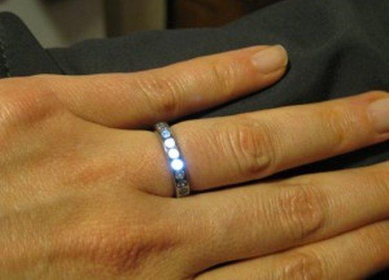 Man Made Titanium Ring Whose Jewels Glow
