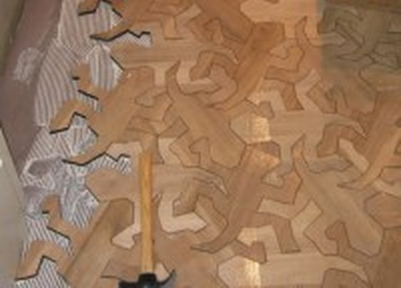 Reptile Pattern Wood Floor Inspired by MC Escher