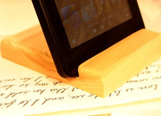 Kindle, phone or iPad stand in natural poplar wood by Hope & Grace Pens