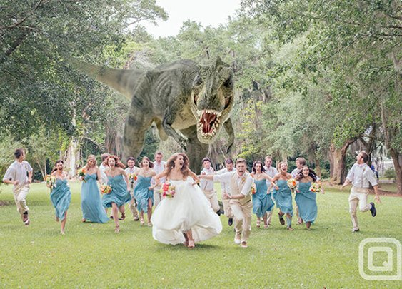 T. Rex Terrorizes Bridal Party: Best Wedding Photograph Ever?