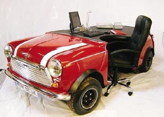 Luxurious Custom Desk Designs from Converted Cars