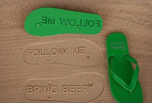 Bring Beer Custom  Sand Imprint Flip-Flops  | Cool Material
