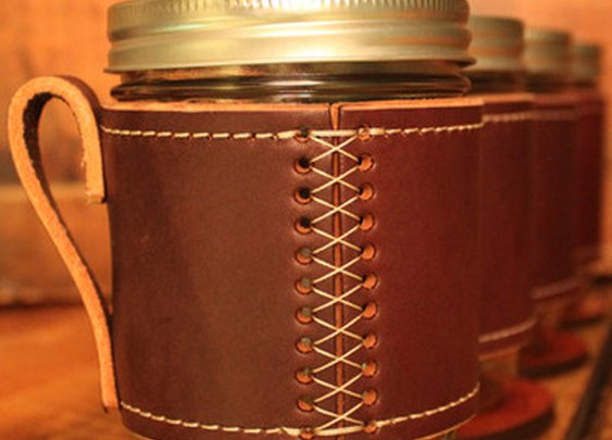 Holdster USA: Leather Canning Jar Travel Mugs | Holdster